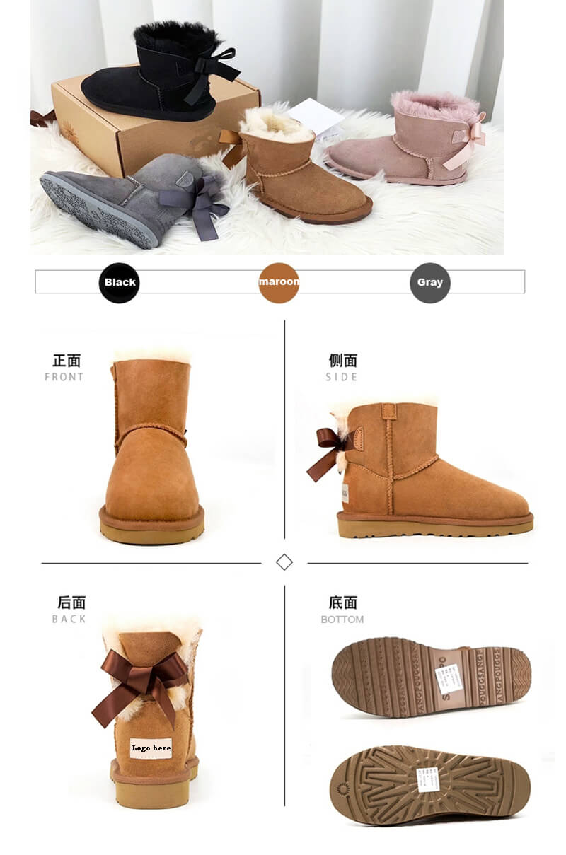 oem high quality kids snow boots with bows snow boots kids winter warm childrens shoes waterproof8