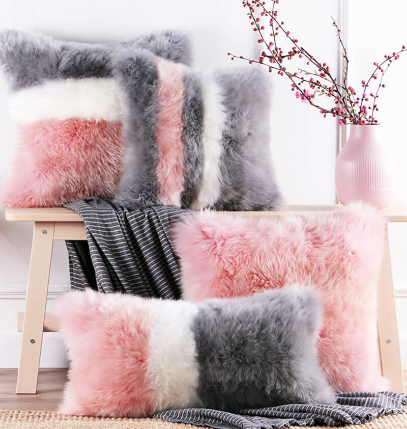 oem odm wholesale eco friendly long wool sheepskin rug mixed color pillow for living room 45 45cm11
