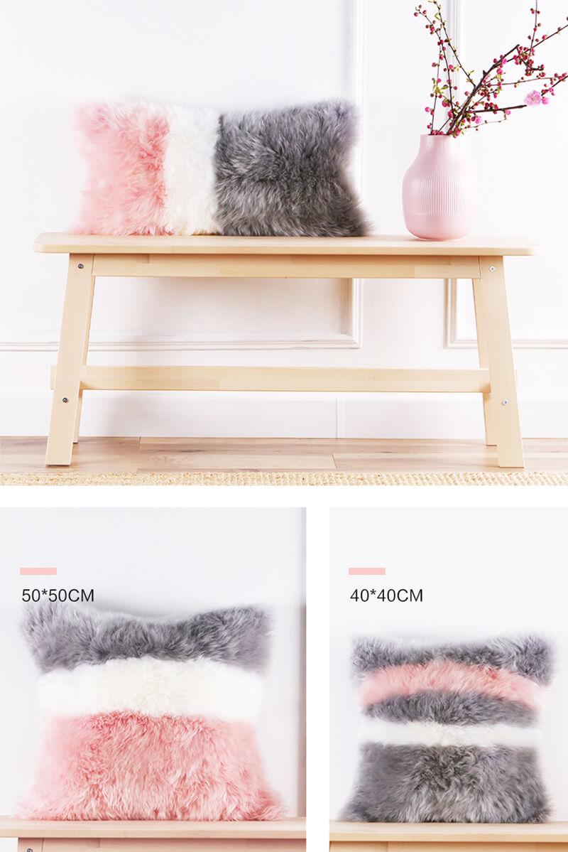 oem odm wholesale eco friendly long wool sheepskin rug mixed color pillow for living room 45 45cm12