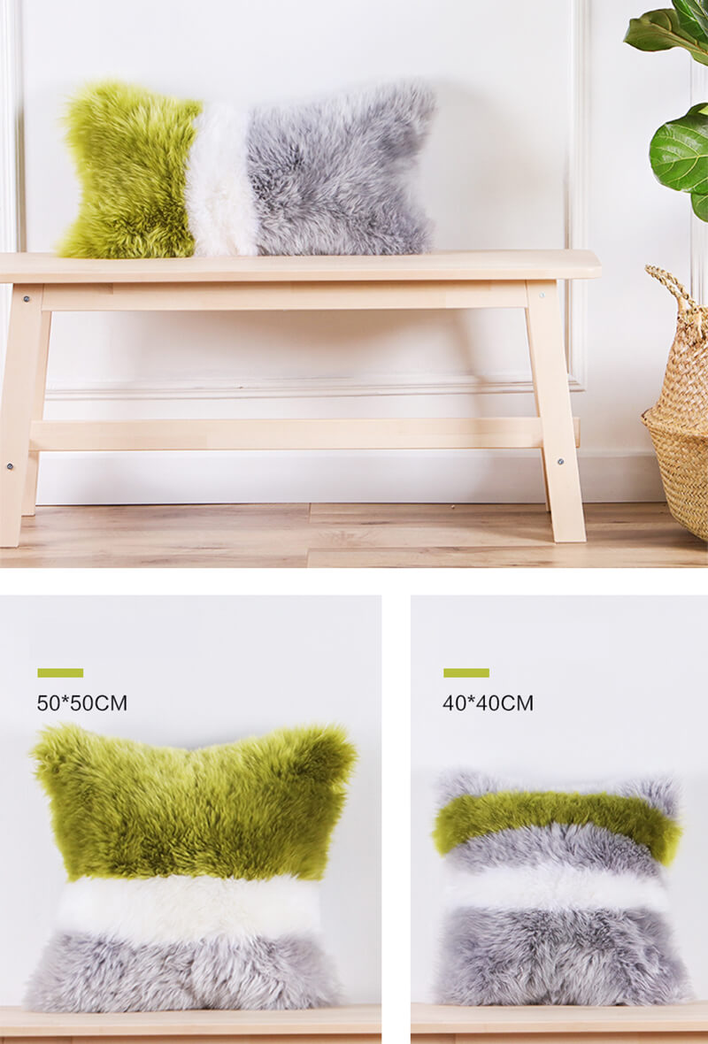 oem odm wholesale eco friendly long wool sheepskin rug mixed color pillow for living room 45 45cm13