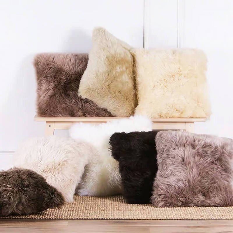 oem odm wholesale eco friendly long wool sheepskin rug mixed color pillow for living room 45 45cm14