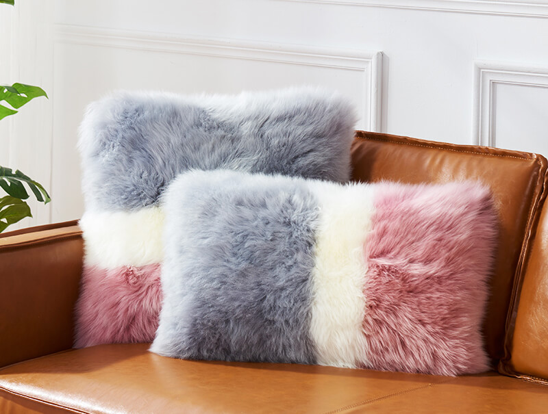 oem odm wholesale eco friendly long wool sheepskin rug mixed color pillow for living room 45 45cm7