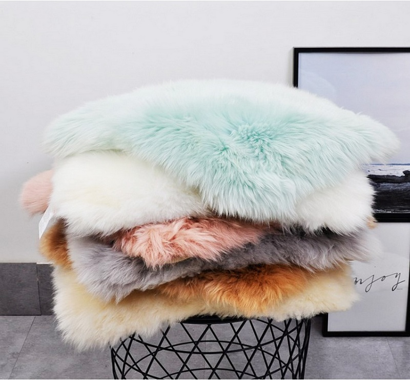 square fur sheepskin chair cover seat cushion pad super soft area rugs for living bedroom sofa7