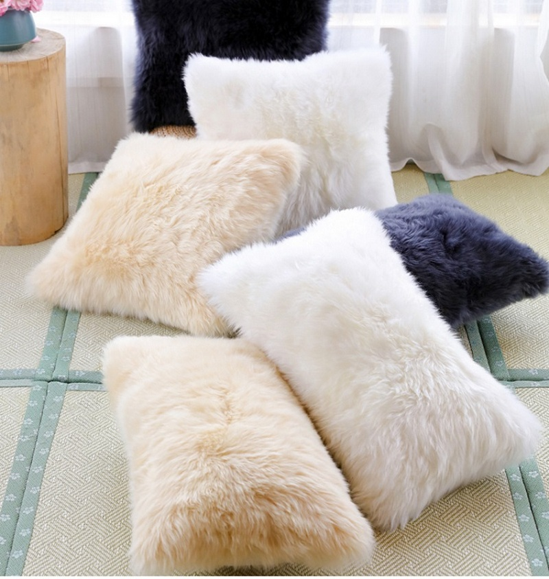 square shaped real australia sheepskin rug pillow t for home use 30 50cm9